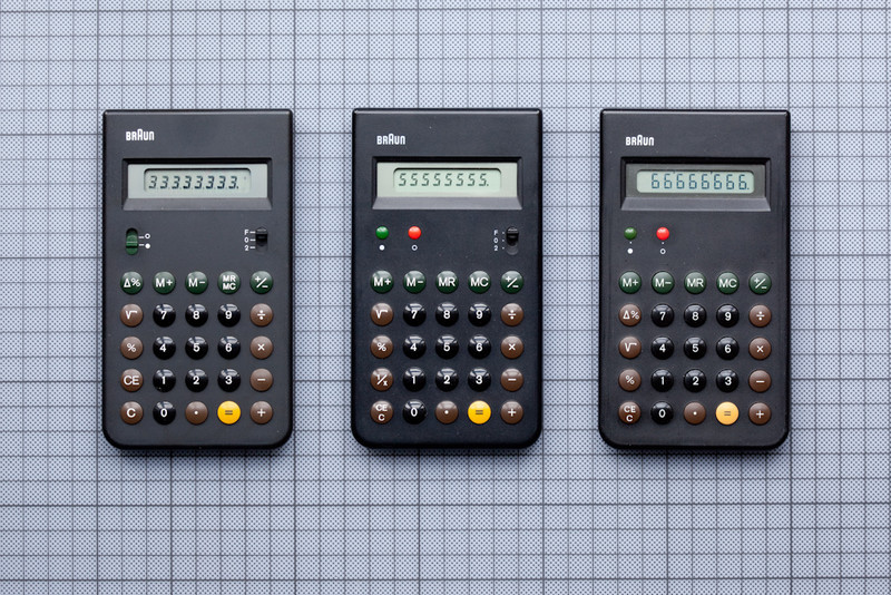 "Three Braun calculators, ET33, ET55 and ET66, designed by Dieter Rams and Dietrich Lubs, 1977 - 1987. A classic of minimalist design and a look that was heavily ""borrowed"" by the designers of the iPhone."