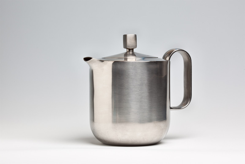 """Stainless steel teapot in the """"Mercury"""" pattern, designed by David Mellor, 1965, and made by Elkington"""