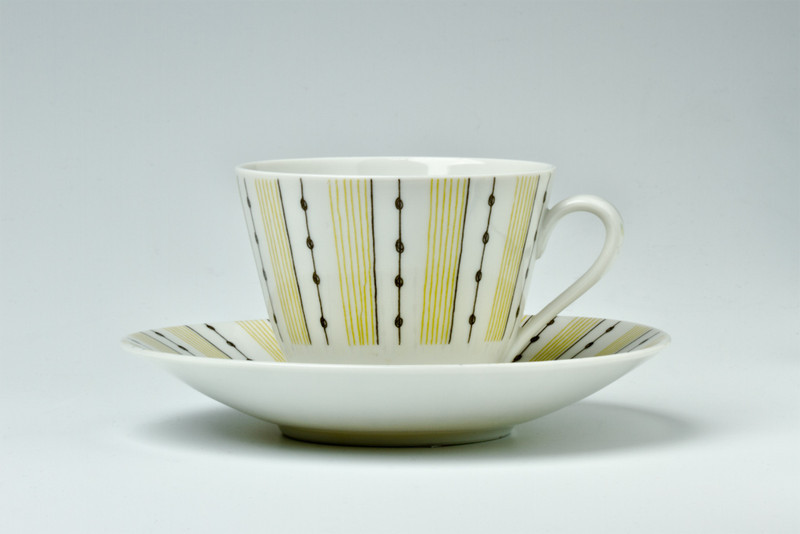 "Rorstrand cup and saucer, in the ""Casino"" pattern, 1950s"