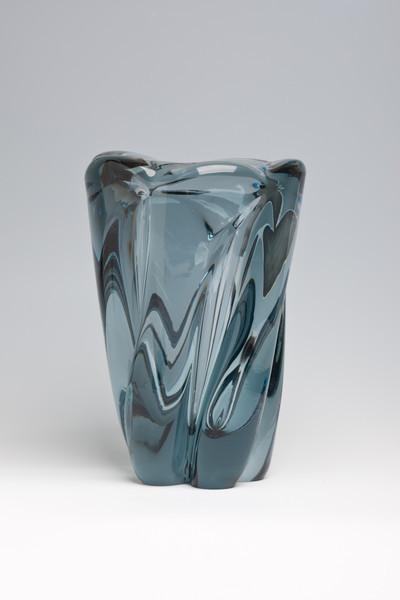 "Whitefriars spiral twist vase in ""Polar Ice"" colour, designed 1950s by William Wilson"