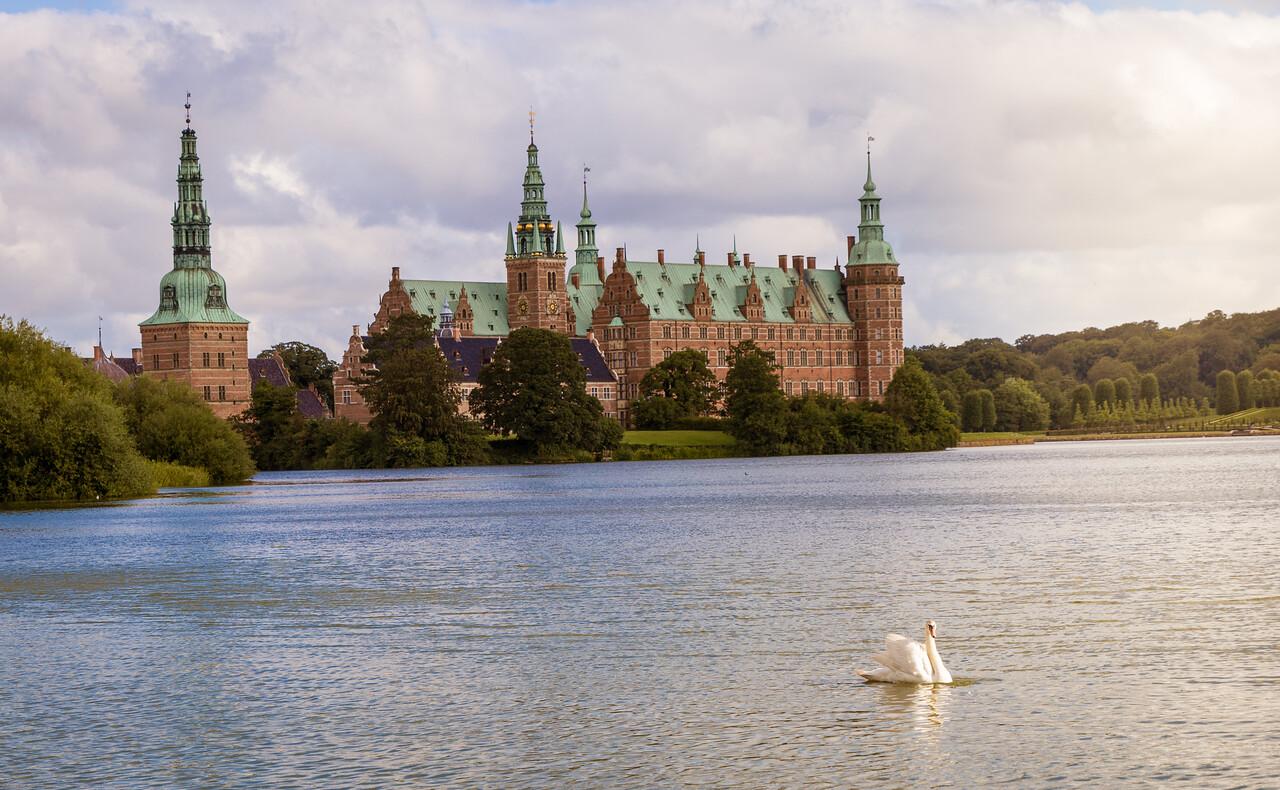 Frederiksborg castle, and swan,  Denmark