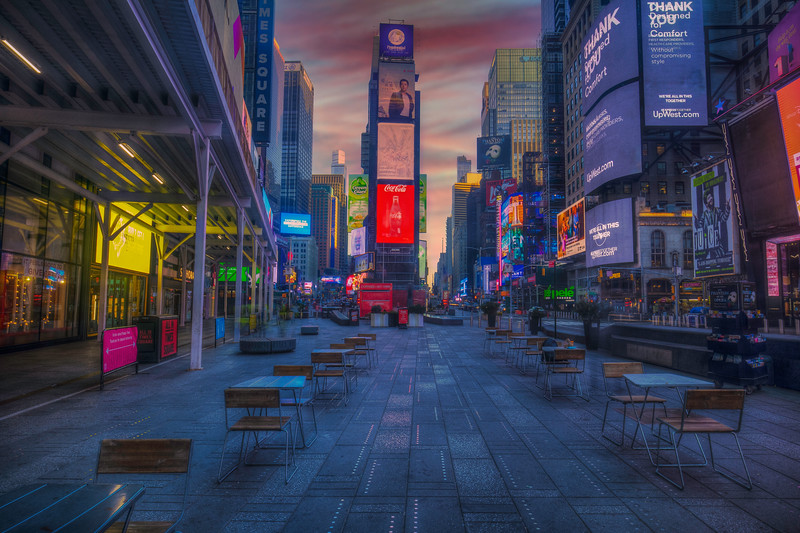 Empty Chairs And Empty Tables, Times Square