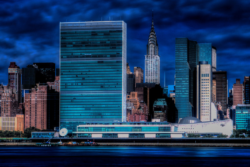 United Nations and Chrysler Building, Manhattan New York