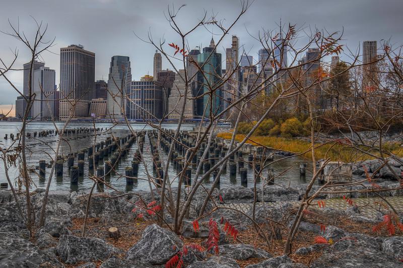 Overcast Skyline In Fall