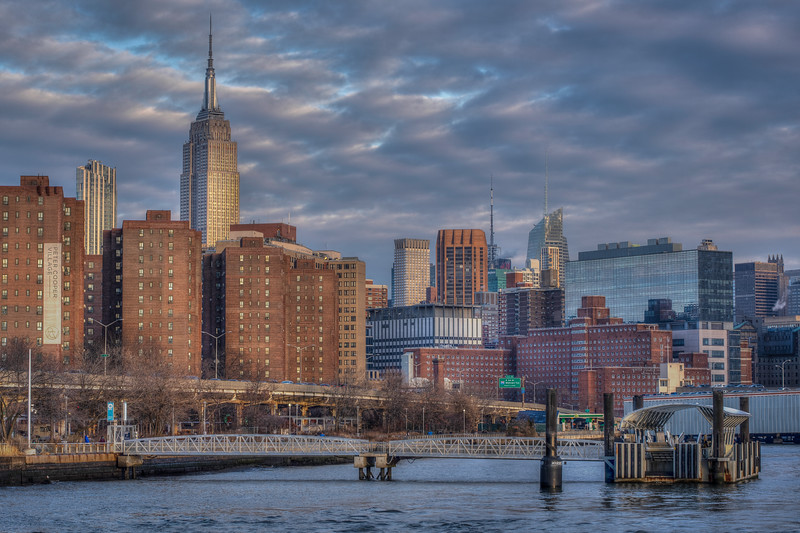 Ferry Dock And Empire State Building