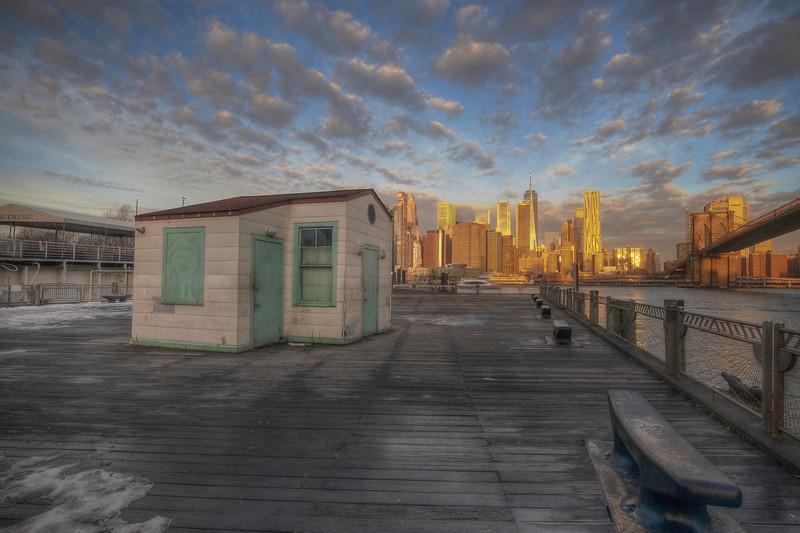 Shack And Skyline At Sunrise