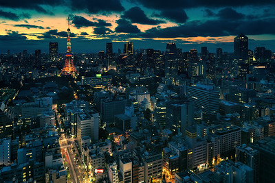 night tokyo cityscape