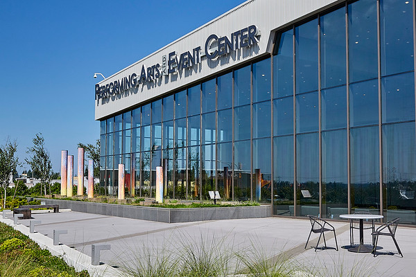 Federal Way WA Performing Arts Center glass and steel facade.