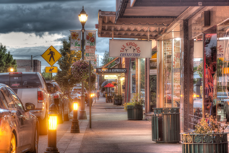 Strores on main street in Enumclaw WA.