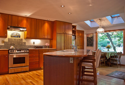 Cherry Wood, Stainless Steel & Granit Tile Kitchen