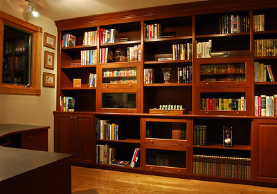 Library with Cherry Wood Book Shelves