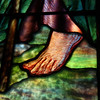 The Baptism of Jesus  Closeup of a John the Baptist foot and flowing robes