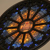 This window is above the alter and is the only non Tiffany window in the sanctuary.  It was donated by the Menninger Bible Class and installed two years after the death of Louis Tiffany.  I