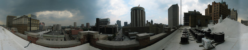 From top of Grain Exchange, 741 N Milwaukee St, with 0.7x wide angle adapter, Panorama Factory 3.0 stitching, cylindrical, no exposure matching or correction