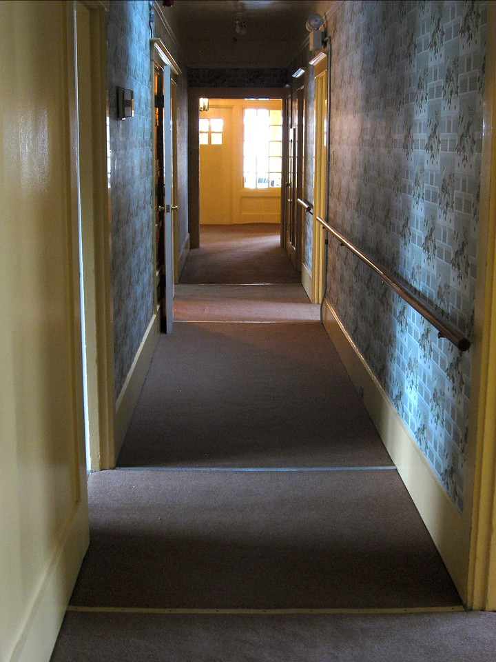 "The main hallway on the top floor.  This photo is taken from the very back of the house facing the entranceway.  It's super long.  At one time, this building was used as a convalescent home.  Note the ""I've fallen and I can't get up!"" railing on the side."