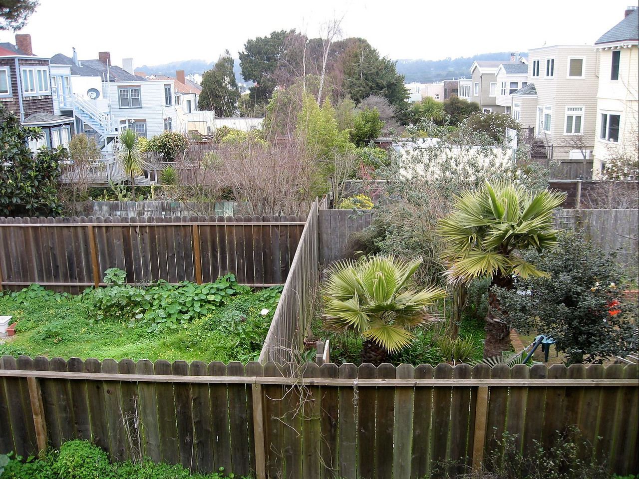 Here's the view from one of the rear bedrooms on the top floor.  You can see everyone's garden and since we are on the top of the hill, it looks down onto everyone else.  It's a gorgeous view.