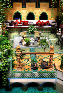 Traditional courtyard seating in architect Sami Angawi's home...