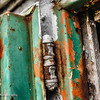 Rusted hinge on shed door