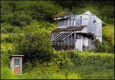 """OUTHOUSE AND BARN"",Farm Island, Alaska,USA."