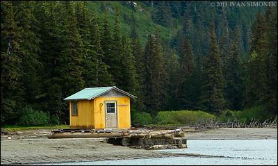 """SITTING DRY"",a Stikine river floathouse,Alaska,USA."