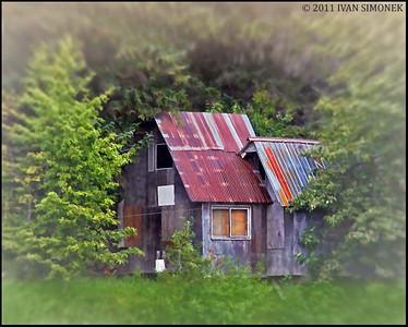 """WILDERNESS CABIN"",Stikine river,B.C.,Canada."