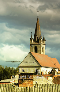 Hungarian catholic church from distance in Romania