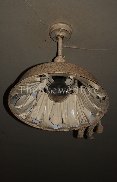 Dining Hall Lamp<br /> <br /> What looks like decorative puffy fabric on the lamp is peeling paint.