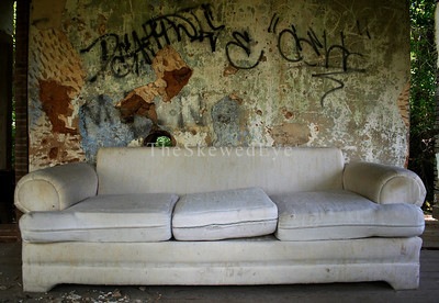"The Infamous Dirty Couch of Ill Repute  And ya know, if this rotten hulk was on the market in LA...well, and had walls and was inabitable, the Urban Art behind the couch would have cost a FORTUNE to ""design"" and install."