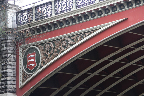 Middlesex emblem on the north side of Archway Bridge.<br /> 26 December 2011