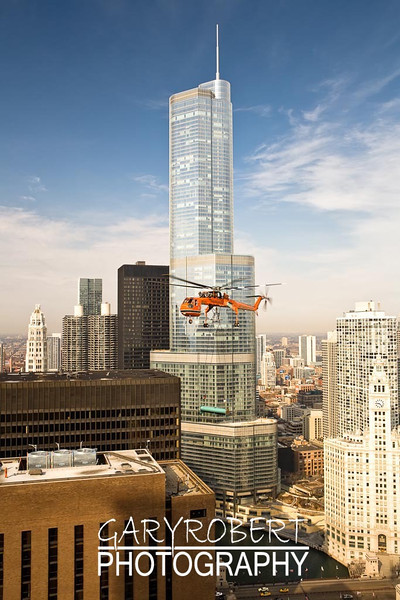 Helicopter pick in front of Trump Tower, Chicago