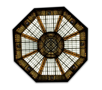 Ali'iolani Hale Stained glass dome in ceilingCapitol District, Honolulu, Hawai'i  this is a png file, there is no background