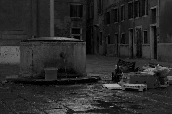 Italy, Venice, Rubbish and Fountain SNM
