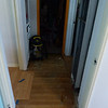 hallway ready for new laminate flooring.  We'll re-hang all the doors after the carpet and flooring is in.