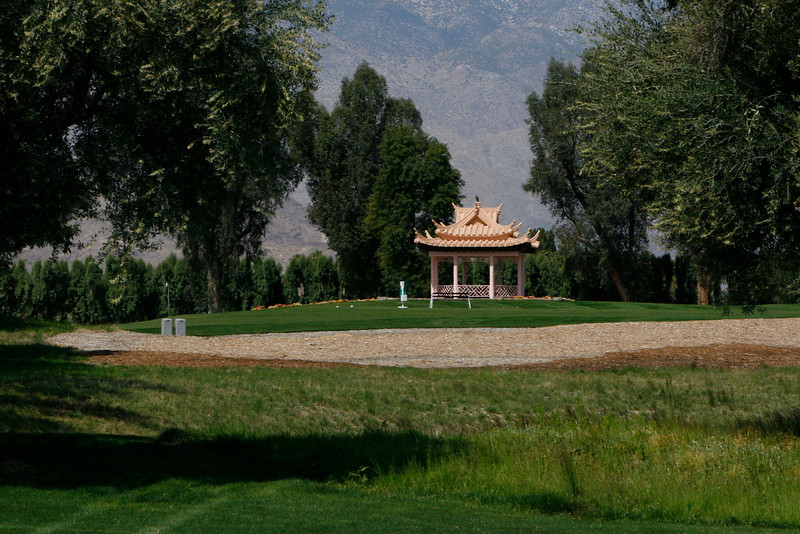 the kitchen staff would pack a full meal with all the trimings out to this gazebo for a lunch break inbetween nines.