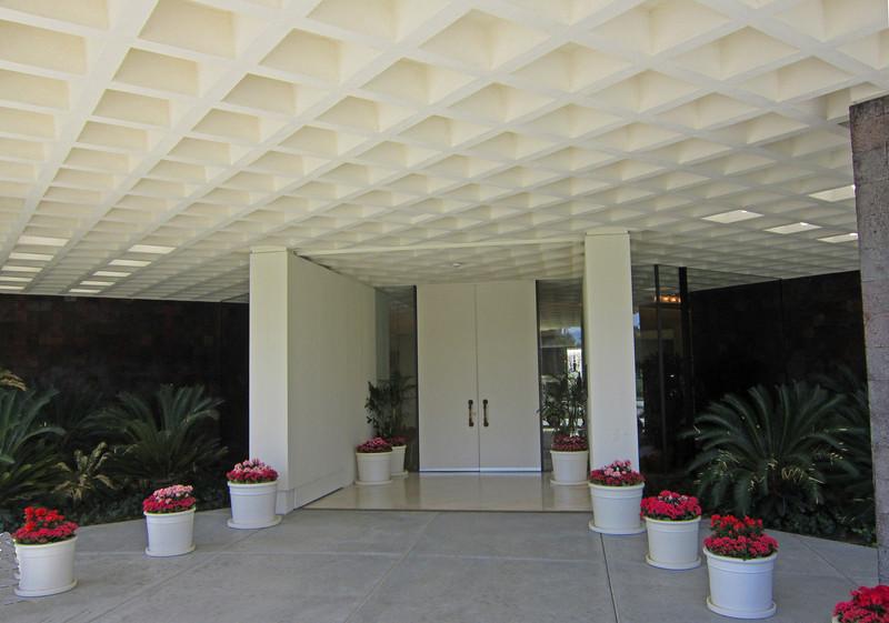 the front door is imposing