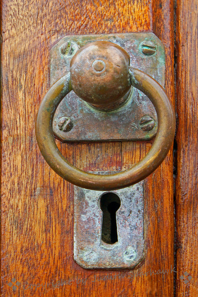 Ship's detail ~ At the Tall Ships Festival, we were able to go on board 8 or 9 different ships, and to photograph the little ship details.  I liked the keyhole and lock on this wood cabinet on one of the ships.