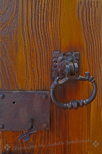 Mission Door Lock and Pull ~ This old lock and key were on a door at the mission, San Luis Rey Mission in Oceanside, California.