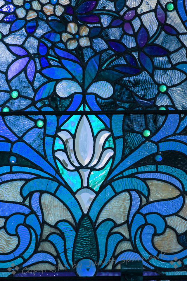Stained Glass Blues ~ I was invited to visit a beautiful little church in Riverside, California, to photograph the stained glass windows. The windows were amazing, with such detail and beautiful colors. The church was built in the 1800's, and has intreresting architecture. It was a joy to see and photograph the windows.