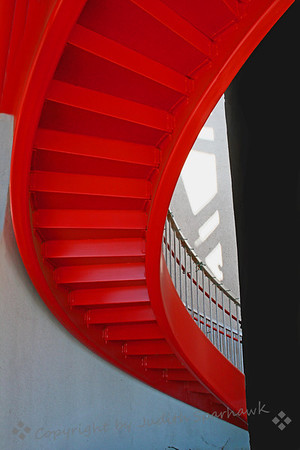 The Red Staircase ~ This photo was selected by Imaging-Resources.com  as Photo of the Day for December 19, 2011.  I found this staircase as I was driving down the main drag in Palm Springs.  Out of the corner of my eye I saw red, went around the block and searched out this inner-courtyard staircase.