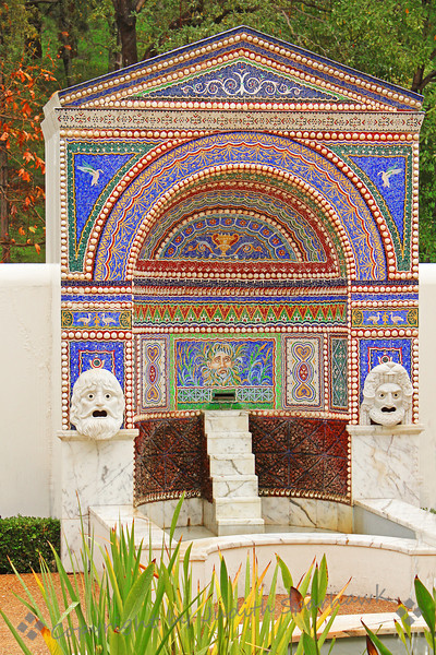 Fountain Mosaic ~ This colorful mosaic forms the backing for this fountain in the gardens at Getty Villa.  In larger sizes, the detailed designs of the mosaic show up beautifully.