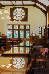 Library Reading Room ~ The A.K. Smiley Library in Redlands, California, is a historical landmark, and has many wonderful details.  This image shows the main reading room, with stained glass windows, and even the reflections in the tables.