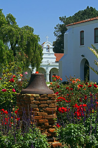 Mission Garden View ~ This beautiful courtyard garden had roses and many other flowers. flanking the surrounding mission buildings.  I liked the bell tower peeking through.