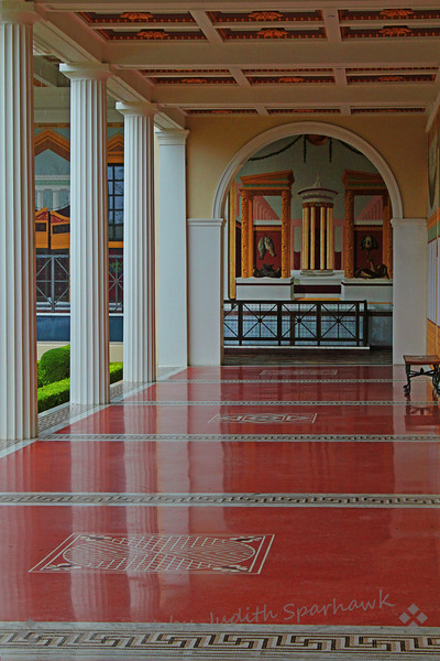 Villa Outer Peristyle ~ This image shows the beautiful floors, arches, columns, and painted details in the outdoor corridor surrounding the gardens at the Getty Villa in Pacific Palisades, California.