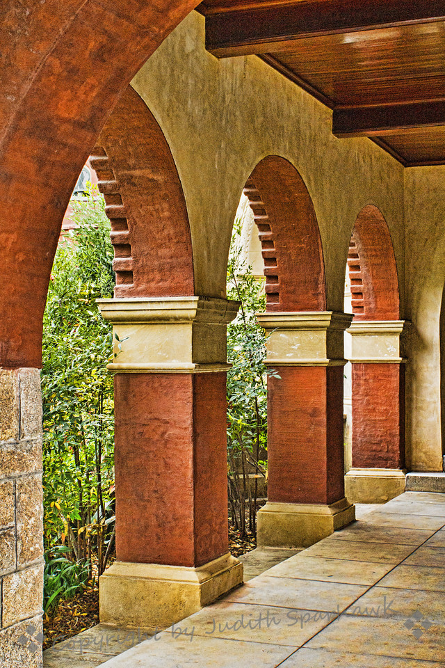 Library Arches ~ Outside details of the A.K. Smiley Library in Redlands, CA.