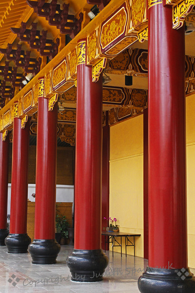 Temple Columns ~ These stately columns frame an outer hallway of the Hsi Lai Temple.  I loved the beautiful colors and attention to details.
