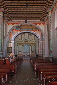 Mission Church ~ An interior view of the historic church at San Luis Rey Mission in Oceanside, California.