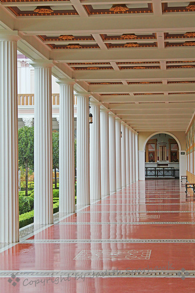 Column Reflections ~ Walking down the outside corridor beside the garden at Getty Villa, I loved the reflection of the white columns on the marble floor.