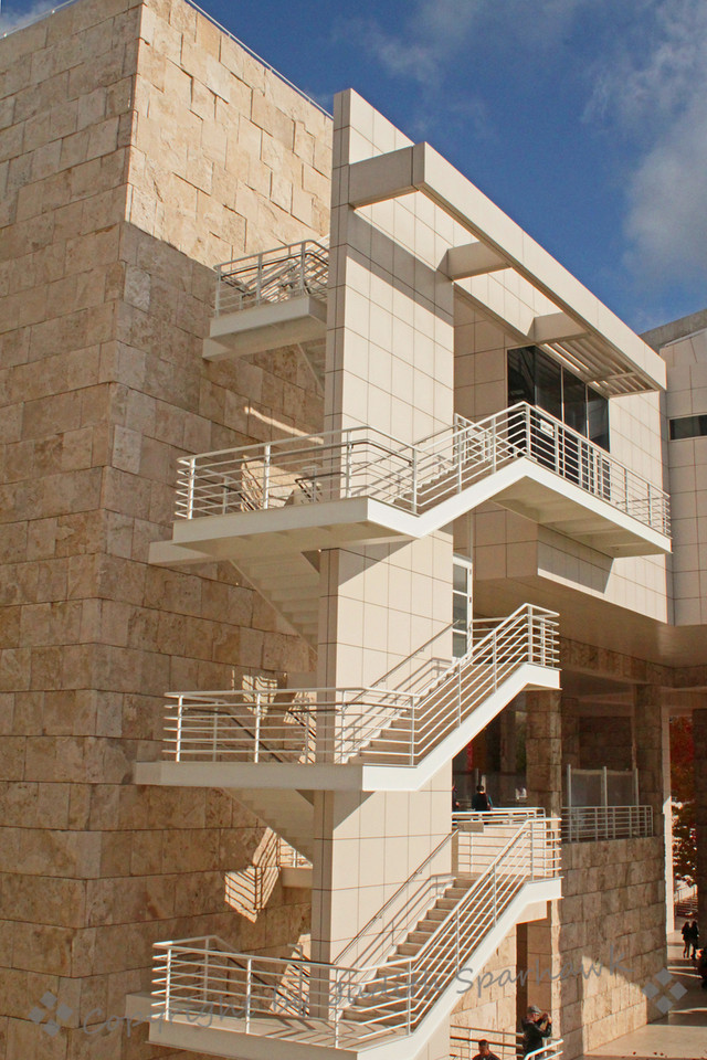 Three Stairways at The Getty ~ This huge modern building has many stairways, both interior and exterior.  I like the repeated patterns of the stairs, and photographed several stairways.