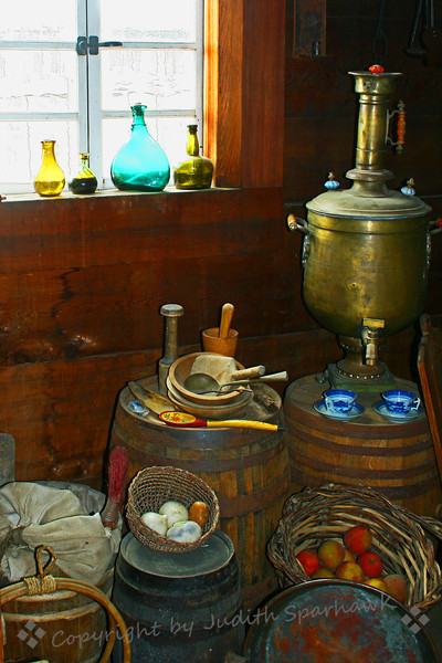 Fort Ross historic details ~ This domestic still life scene was in one of the residence buildings at Fort Ross, demonstrating the items and implements current during it's historic time period.