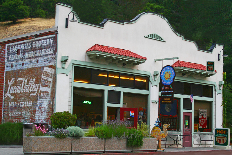 "Lagunitas Grocery ~ On vacation in Marin County recently, I drove past this old grocery store on the way out to Point Reyes.  It immediately took me back to my childhood in this area--aside from ATM's and fancy coffees, this could have been there 50-60 years ago.  I don't even know if Lucas Valley Dairy still exists, but it was like coming ""home"" to see this scene."